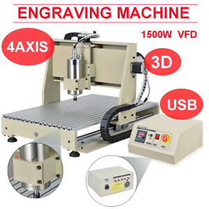 4 Axis Diy Cnc 6040 Wood Engraving Carving Pcb Milling Machine Router Cutter 3d