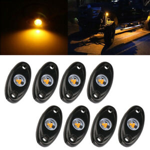 8x 9w Yellow Led Rock Light For Jeep Offroad Truck Under Body Trail Rig Lamp