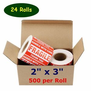 24 Rolls 500 roll 2x3 Fragile Stickers Handle With Care Thank You Shipping Label
