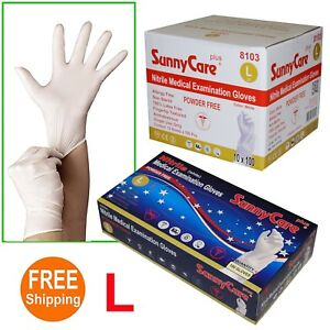 1000 White Nitrile Medical Exam Gloves Powder Free non Vinyl Latex Size Large