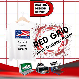 Heat Transfer Paper Red Grid Iron On Light T Shirt Inkjet Paper 50 Pk 8 5 x11