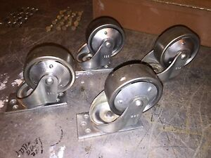 4 Lg Cleaned Vintage Cast Iron Bassick 3 1 4 Swivel Plate Industrial Casters