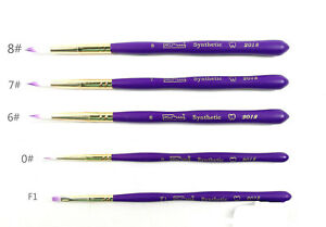 Dental Porcelain Brush Pen Teeth Lab Enamel Brushes Purple 5pcs set 10