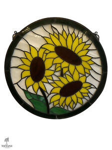 Tiffany Style Round 19 Stained Glass Window Panel With Sunflowers Beautiful