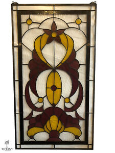 Tiffany Style Large 36x20 Purple Yellow Stained Glass Window Panel Gorgeous