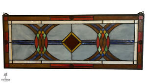 Tiffany Style Large 36x14 Abstract Multi Color Glass Window Panel