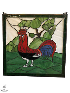 Tiffany Style 24x24 Stained Glass Window Panel With Red Rooster Superb