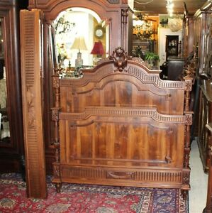 French Antique Carved Solid Walnut Wood Louis Xvi Full Size Double Bed Furniture