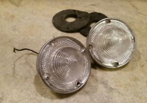 2 Vtg Autolamp 669 Clear Lights Reverse Backup Hot Rat Rod 58 Chevrolet Style