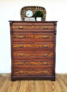 Antique Late Victorian Eastlake Highboy 6 Drawer Walnut Dresser Circa 1880s
