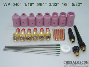 30 Pcs Tig Welding Torch Gas Lens Kit Wp 17 Wp 18 Wp 26 Pure Tungsten Electrode