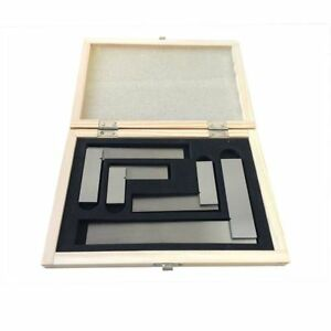 4 Pcs Machinist Hardened Steel Square Set Include 2 3 4 6 Right Angle