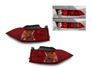 Jdm Red clear Outer Left right Euro Tail Lights For 2004 2005 Acura Tsx