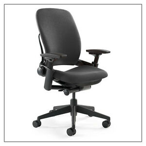 Qty 100 Steelcase Leap Chairs V2 In Black Fabric
