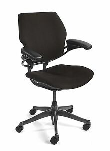 Qty 20 Humanscale Freedom Chairs Fully Adjustable Model In Black Fabric