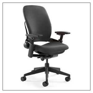 Qty 10 Steelcase Leap Chairs V2 In Black Fabric