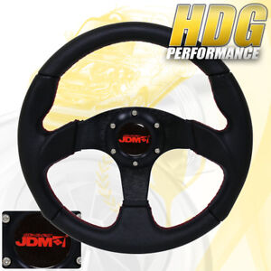 All Black Jdm Steering Wheel On Red Stitching With Jdm Horn 6 Bolt