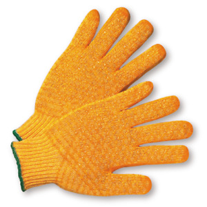 25 Dozen 300 Pair Orange Honeycomb Pvc Grip String Knit Gloves Work Gloves Large