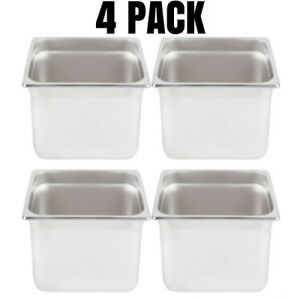 New 1 2 Standard Weight Anti jam Stainless Steel Steam Table Pan 6 Deep 4 Pack