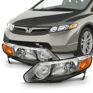 factory Style For 06 11 Honda Civic 4door Left right Black Headlight Assembly