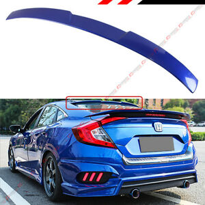 For 2016 2018 10th Gen Honda Civic X Sedan Glossy Blue Rear Window Roof Spoiler