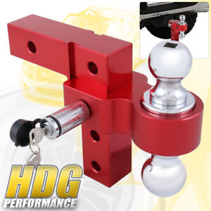 Dual Ball Mount 2 Inch Receiver Red Heavyduty Adjustable Hitch Tow Hook Lock