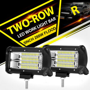 5 Inch 288w Led Off Road Work Light Bar Flood Beam Driving Fog Light Lamps Pair