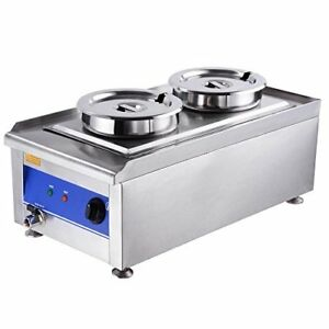 Yescom 1200w Commercial Dual Countertop Steam Table Food Warmer Kitchen Soup