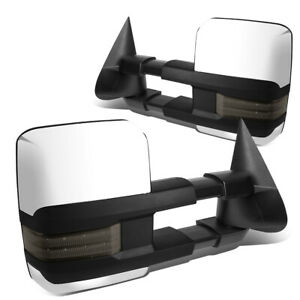 Fit 99 02 Silverado Sierra Chrome Powered Heat Smoked Led Signal Towing Mirror