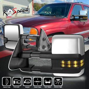 For 99 02 Silverado Sierra 2x Chrome Powered Heated Smoked Led Towing Mirror