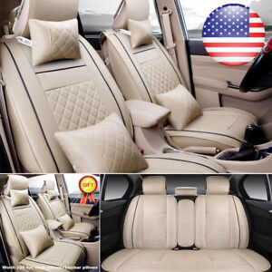 Luxury Car Pu Leather Seat Covers Auto Suv Sedan Front Rear Cushions 5 sits Set