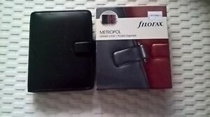 Filofax Metropol Leather Look Pocket Organiser Organizer Black New In Box