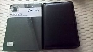 Filofax Metropol Leather Look Personal Organiser Organizer Black Zipped New