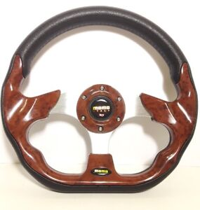 New 320mm Universal Momo Racing Sport Steering Wheel W horn Leather And Wooden