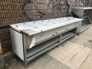 Stainless Steel Steam Table 120 9 Pans 2 Burners 40 000 Btu W Sneeze Guard Nsf