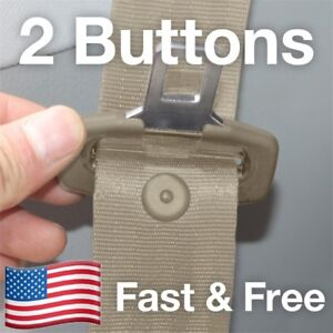 Snaps On 2 Seat Belt Button Buckle Stop Universal Fit Stopper Kit In Tan