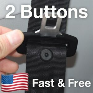 Snaps On 2 Seat Belt Button Buckle Stop Universal Fit Stopper Kit In Black