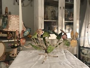 Vintage Italian Tole Candle Holder Rare Mixed Flowers Leaves
