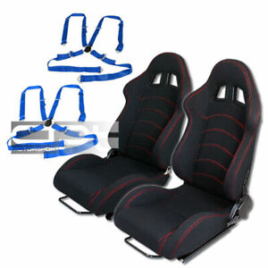Reclinable Red Stitch Black Cloth Racing Bucket Seats 4 Point Camlock Blue Belts
