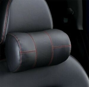 2pcs High Quality Ergonomic Headrest Black Cowhide Car Neck Rest Pillows