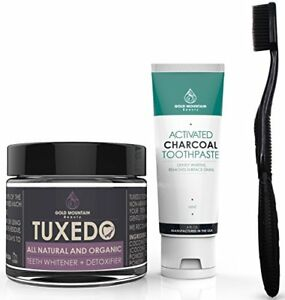 Premium Natural Teeth Whitening Kit Contains Activated Charcoal Tooth Powder