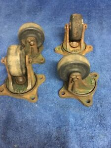 4 Vintage Industrial Factory Cart Cast Iron Metal Swivel Base Rubr Wheel Casters