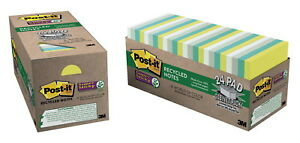 Post it Sticky Recycled Notes 3 X 3 Inches Bora Bora Colors 24 Pads With 90