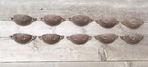 10 Cast Iron Brown 3 3 4 Cup Pulls Drawer Cabinet Bin Handles Rustic Vintage