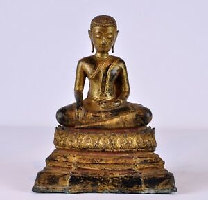 Rare Chinese Or Asian Antique Gilt Bronze Seated Buddha