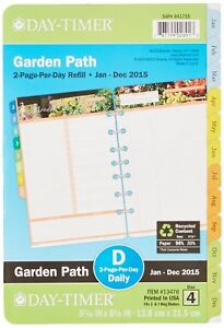 Daytimer Garden Path Daily Planner Refill 2015 5 5 X 8 5 Inches Page Siz New