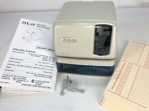Amano Pix 10 Electronic Time Recorder Clock Punch Machine Keys Cards Instruction