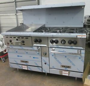 Vulcan 60 Natural Gas 6 Burner Range W 24 Thermostat Controlled Griddle