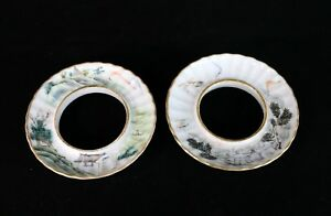 Set Of 2 Rare Antique Chinese Porcelain Saucers For Gaiwan Lidded Tea Cup