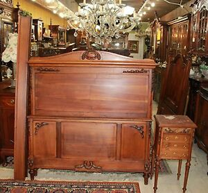 Antique French Walnut Louis Xvi Full Size Bed Nightstand Bedroom Furniture Set